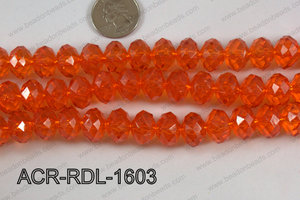 Acrylic Rondelle faceted 16mm orange  ACR-RDL-1603
