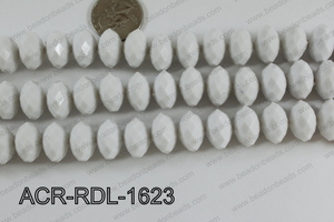 Acrylic Rondelle faceted 16mm white  ACR-RDL-1623