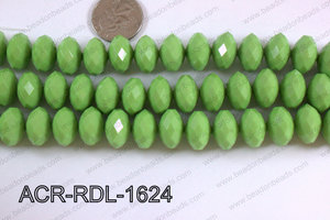 Acrylic Rondelle faceted 16mm green  ACR-RDL-1624