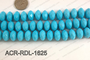 Acrylic Rondelle faceted 16mm blue  ACR-RDL-1625