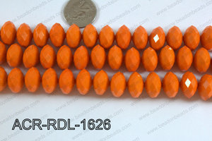 Acrylic Rondelle faceted 16mm orange  ACR-RDL-1626