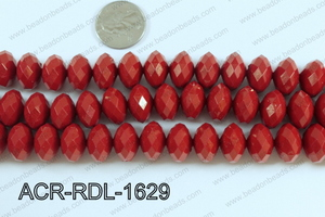 Acrylic Rondelle faceted 16mm red  ACR-RDL-1629