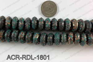 Acrylic rondelle turquoise vintage paint beads 18mm ACR-RDL-1801