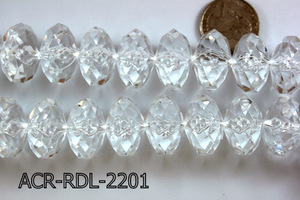 Acrylic Bead Faceted Rondel 22mm Clear 13'' ACR-RDL-2201