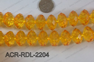 Acrylic Rondelle faceted 22mm yellow  ACR-RDL-2204
