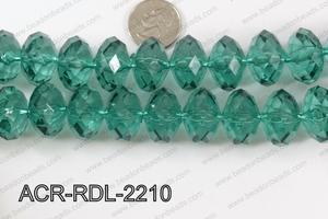 Acrylic Rondelle faceted 22mm green  ACR-RDL-2210