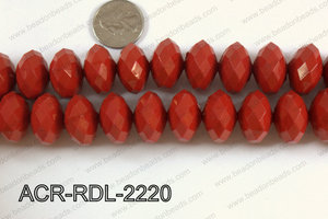 Acrylic Rondelle faceted 22mm red  ACR-RDL-2220