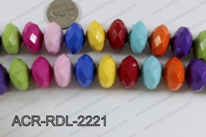 Acrylic Rondelle faceted 22mm multi  ACR-RDL-2221