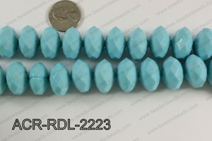 Acrylic Rondelle faceted 22mm blue  ACR-RDL-2223