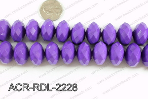 Acrylic Rondelle faceted 22mm purple  ACR-RDL-2228