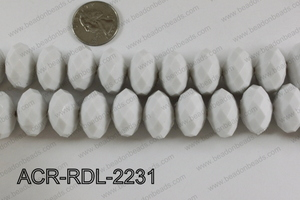 Acrylic Rondelle faceted 22mm white  ACR-RDL-2231