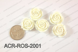 Acrylic Rose bead 20mm white ACR-ROS-2001