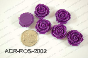 Acrylic Rose bead 20mm purple ACR-ROS-2002