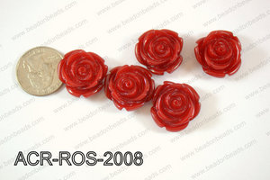 Acrylic Rose bead 20mm dark red ACR-ROS-2008