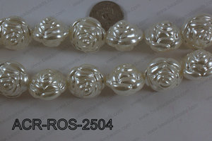 Acrylic Rose 25mm white ACR-ROS-2504