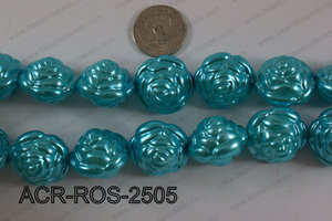 Acrylic Rose 25mm turquoise ACR-ROS-2505