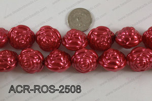 Acrylic Rose 25mm red ACR-ROS-2508