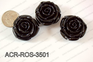 Acrylic Rose bead 35mm black ACR-ROS-3501