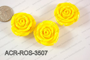 Acrylic Rose bead 35mm yellow ACR-ROS-3507