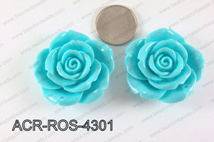 Acrylic Pendant Rose Turquoise 43mm ACR-ROS-4301