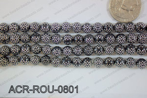 Acrylic Bead Round Black with silver spots 8mm ACR-ROU-0801