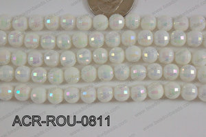 Acrylic Round faceted 8mm white ACR-ROU-0811