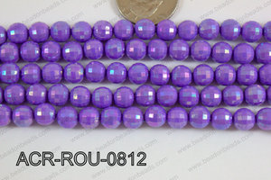 Acrylic Round faceted 8mm purple ACR-ROU-0812