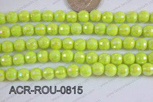 Acrylic Round faceted 8mm lime ACR-ROU-0815