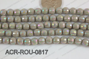 Acrylic Round faceted 8mm grey ACR-ROU-0817