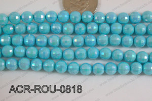 Acrylic Round faceted 8mm light blue ACR-ROU-0818