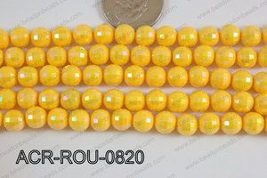 Acrylic Round faceted 8mm yellow ACR-ROU-0820