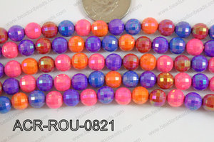 Acrylic Round faceted 8mm multi ACR-ROU-0821