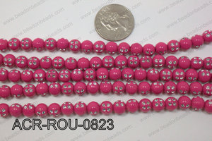 Acrylic Dice Round Hot Pink 8mm ACR-ROU-0823