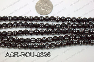 Acrylic Dice Round Black 8mm ACR-ROU-0826
