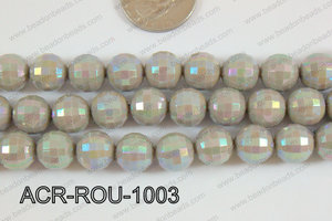 Acrylic Round faceted 12mm grey ACR-ROU-1003