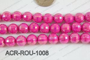 Acrylic Round faceted 12mm dark pink ACR-ROU-1008