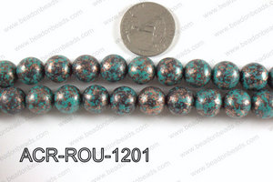 Acrylic turquoise vintage paint round beads 12mm ACR-ROU-1201