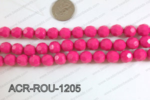 Acrylic Round faceted 12mm hot pink ACR-ROU-1205