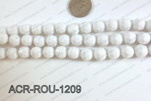 Acrylic Round faceted 12mm white ACR-ROU-1209