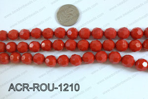 Acrylic Round faceted 12mm red ACR-ROU-1210