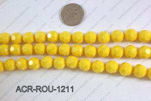 Acrylic Round faceted 12mm yellow ACR-ROU-1211