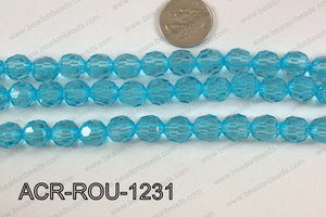 Acrylic Round faceted 12mm light blue  ACR-ROU-1231