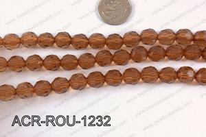 Acrylic Round faceted 12mm brown  ACR-ROU-1232