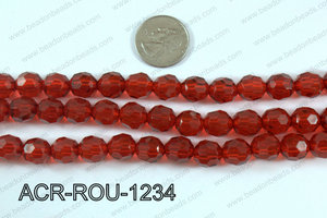 Acrylic Round faceted 12mm red  ACR-ROU-1234