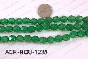 Acrylic Round faceted 12mm green  ACR-ROU-1235