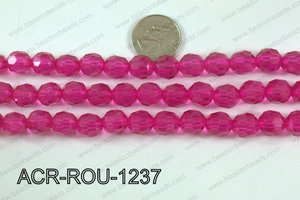 Acrylic Round faceted 12mm hot pink  ACR-ROU-1237