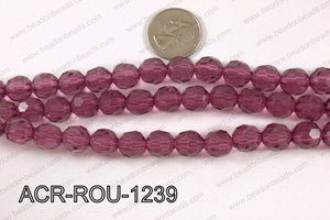 Acrylic Round faceted 12mm wine  ACR-ROU-1239