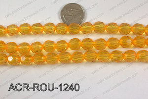 Acrylic Round faceted 12mm yellow  ACR-ROU-1240