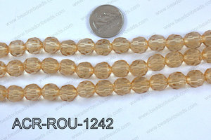 Acrylic Round faceted 12mm beige  ACR-ROU-1242