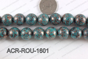 Acrylic turquoise vintage paint round beads 16mm ACR-ROU-1601